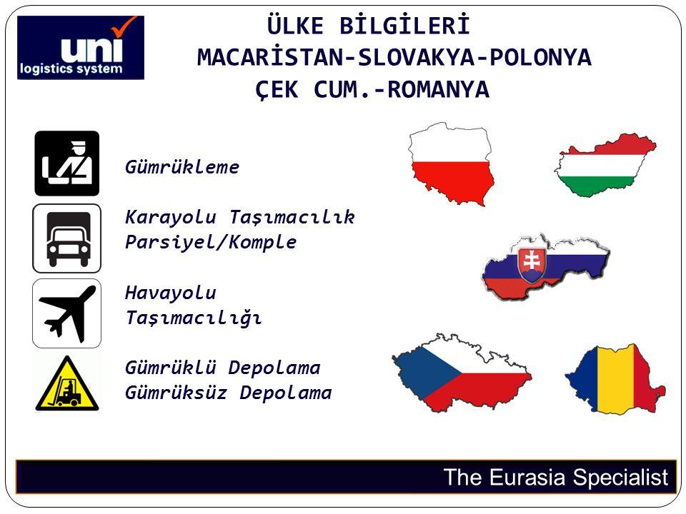 ÜLKE BİLGİLERİ MACARİSTAN-SLOVAKYA-POLONYA ÇEK CUM.-ROMANYA The Eurasia Specialist Gümrükleme Karayolu Taşımacılık Parsiyel/Komple Havayolu Taşımacılı