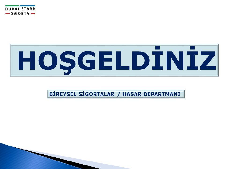 BİREYSEL SİGORTALAR / HASAR DEPARTMANI HOŞGELDİNİZ