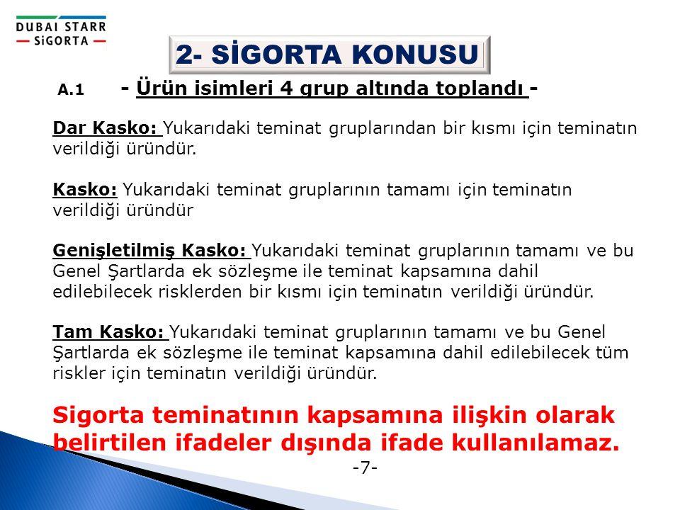 -7- 2- SİGORTA KONUSU A.1 - Ürün isimleri 4 grup altında toplandı - Dar Kasko: Yukarıdaki teminat gruplarından bir kısmı için teminatın verildiği ürün