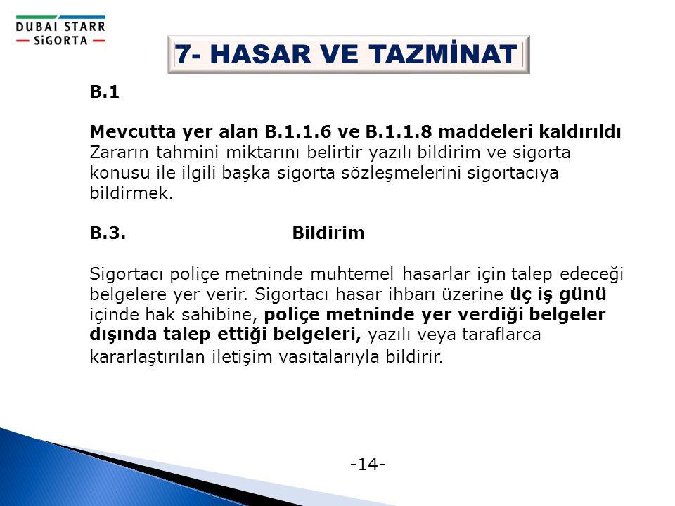 -14- 7- HASAR VE TAZMİNAT B.1 Mevcutta yer alan B.1.1.6 ve B.1.1.8 maddeleri kaldırıldı Zararın tahmini miktarını belirtir yazılı bildirim ve sigorta