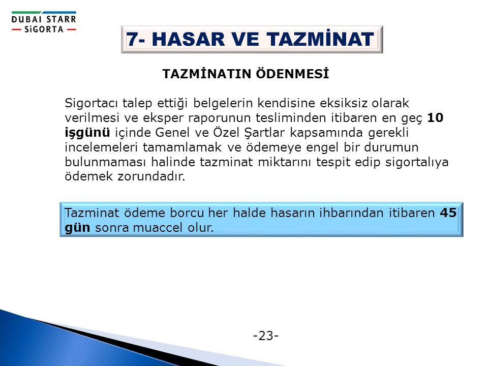 -23- 7- HASAR VE TAZMİNAT TAZMİNATIN ÖDENMESİ Sigortacı talep ettiği belgelerin kendisine eksiksiz olarak verilmesi ve eksper raporunun tesliminden it