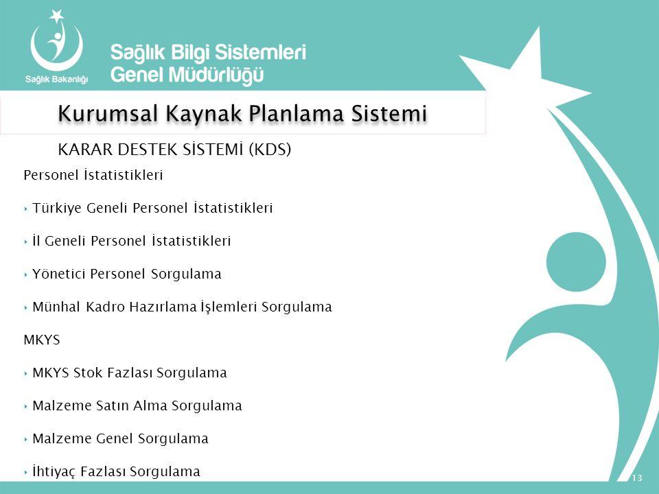 Kurumsal Kaynak Planlama Sistemi KARAR DESTEK SİSTEMİ (KDS) Personel İstatistikleri ‣ Türkiye Geneli Personel İstatistikleri ‣ İl Geneli Personel İsta
