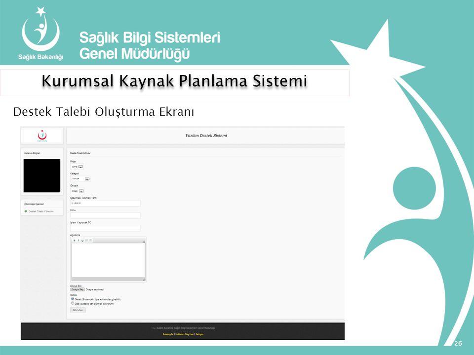 Kurumsal Kaynak Planlama Sistemi 26 Destek Talebi Oluşturma Ekranı
