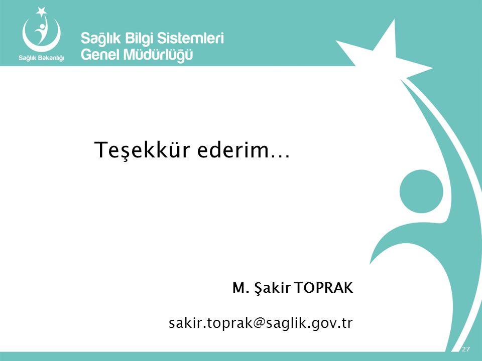 Teşekkür ederim… M. Şakir TOPRAK sakir.toprak@saglik.gov.tr 27