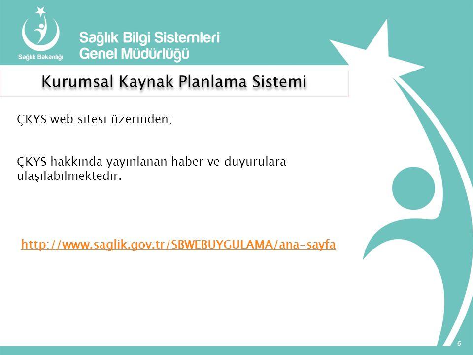 http://www.saglik.gov.tr/SBWEBUYGULAMA/ana-sayfa Kurumsal Kaynak Planlama Sistemi ÇKYS web sitesi üzerinden; ÇKYS hakkında yayınlanan haber ve duyurul