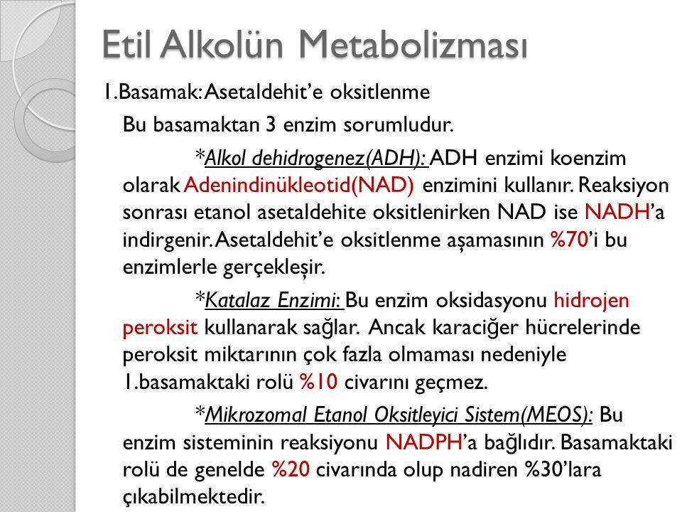 Etil Alkolün Metabolizması 1.Basamak: Asetaldehit'e oksitlenme Bu basamaktan 3 enzim sorumludur. *Alkol dehidrogenez(ADH): ADH enzimi koenzim olarak A