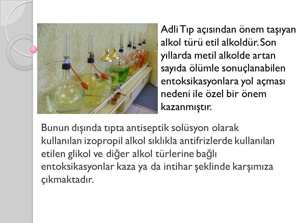 Bunun dışında tıpta antiseptik solüsyon olarak kullanılan izopropil alkol sıklıkla antifrizlerde kullanılan etilen glikol ve di ğ er alkol türlerine b