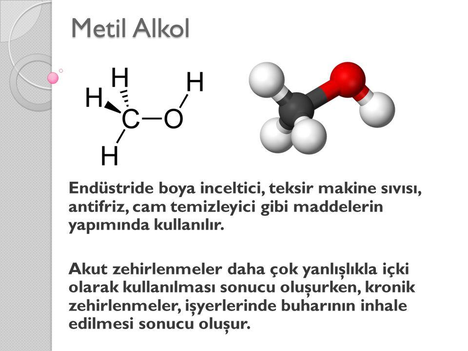 Metil Alkol Endüstride boya inceltici, teksir makine sıvısı, antifriz, cam temizleyici gibi maddelerin yapımında kullanılır. Akut zehirlenmeler daha ç