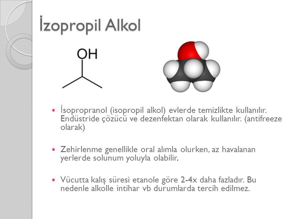 İ zopropil Alkol  İ sopropranol (isopropil alkol) evlerde temizlikte kullanılır. Endüstride çözücü ve dezenfektan olarak kullanılır. (antifreeze olar