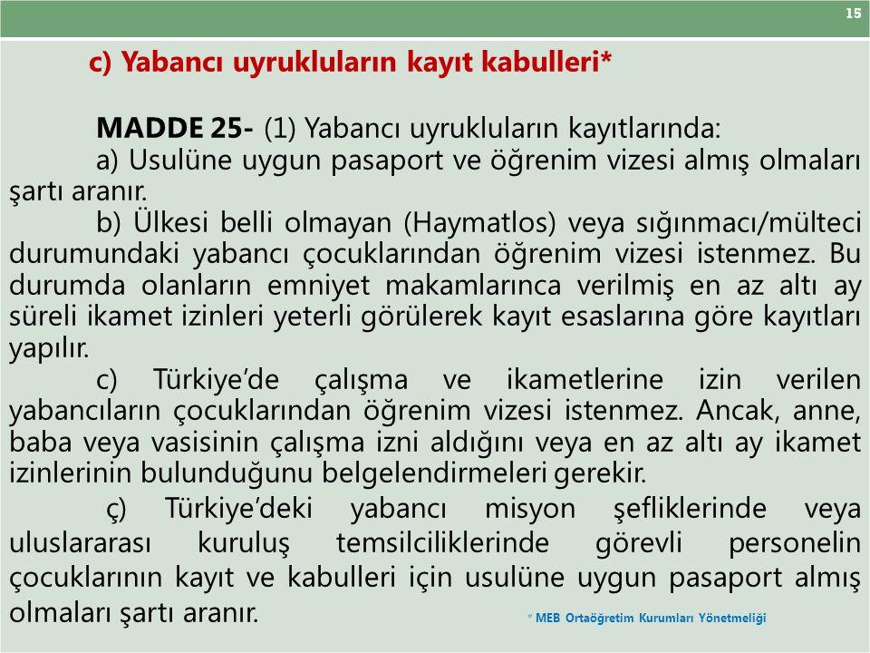 15 c) Yabancı uyrukluların kayıt kabulleri* MADDE 25- (1) Yabancı uyrukluların kayıtlarında: a) Usulüne uygun pasaport ve öğrenim vizesi almış olmalar