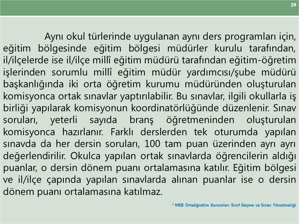29 Aynı okul türlerinde uygulanan aynı ders programları için, eğitim bölgesinde eğitim bölgesi müdürler kurulu tarafından, il/ilçelerde ise il/ilçe mi