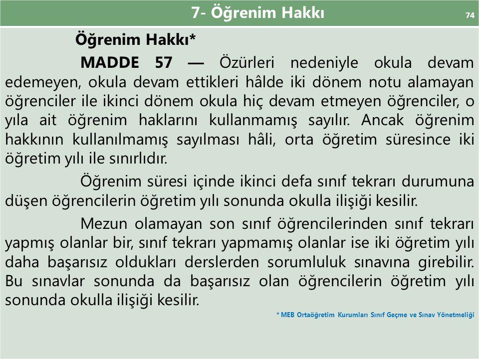 7- Öğrenim Hakkı 74 Öğrenim Hakkı* MADDE 57 — Özürleri nedeniyle okula devam edemeyen, okula devam ettikleri hâlde iki dönem notu alamayan öğrenciler