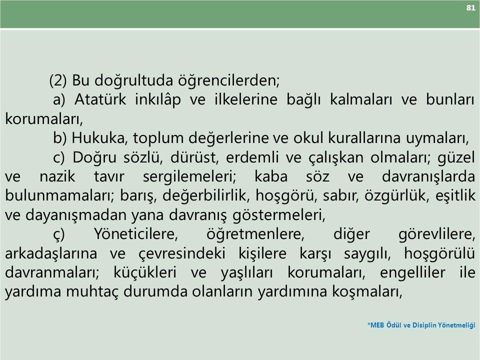 81 (2) Bu doğrultuda öğrencilerden; a) Atatürk inkılâp ve ilkelerine bağlı kalmaları ve bunları korumaları, b) Hukuka, toplum değerlerine ve okul kura