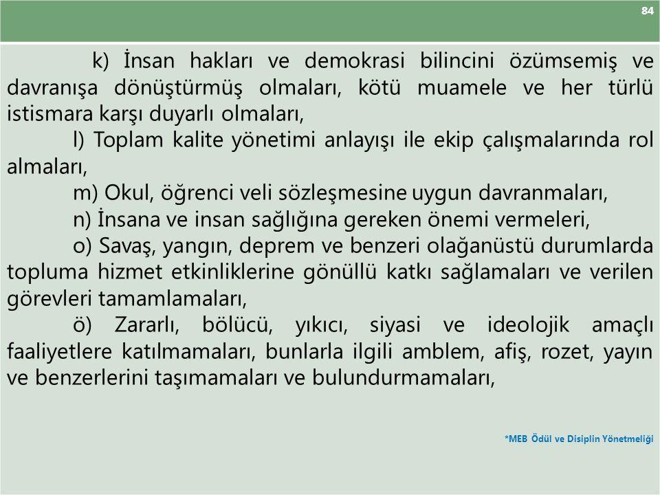 84 k) İnsan hakları ve demokrasi bilincini özümsemiş ve davranışa dönüştürmüş olmaları, kötü muamele ve her türlü istismara karşı duyarlı olmaları, l)