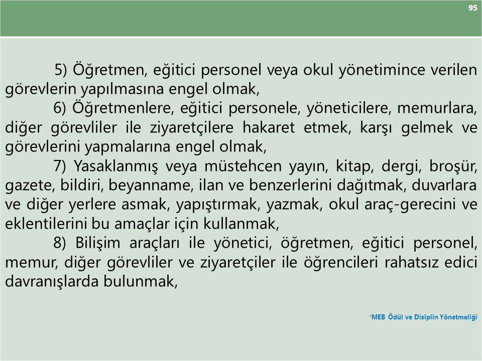95 5) Öğretmen, eğitici personel veya okul yönetimince verilen görevlerin yapılmasına engel olmak, 6) Öğretmenlere, eğitici personele, yöneticilere, m