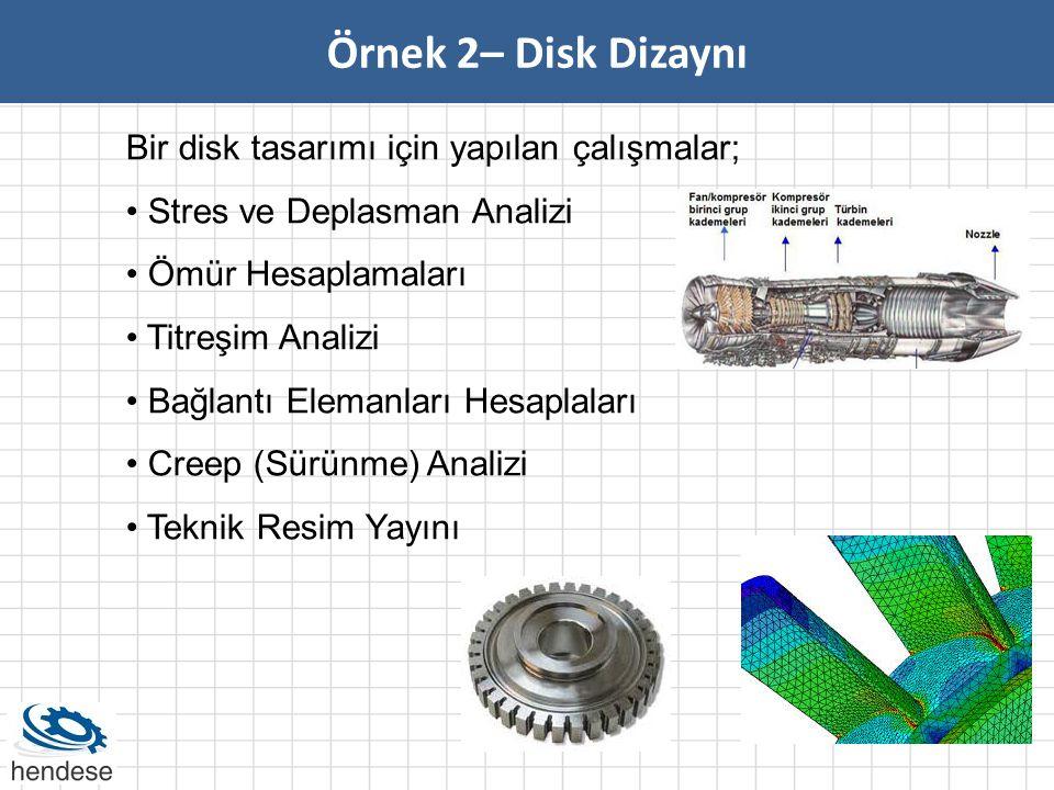 Örnek 2– Disk Dizaynı Bir disk tasarımı için yapılan çalışmalar; • Stres ve Deplasman Analizi • Ömür Hesaplamaları • Titreşim Analizi • Bağlantı Elema