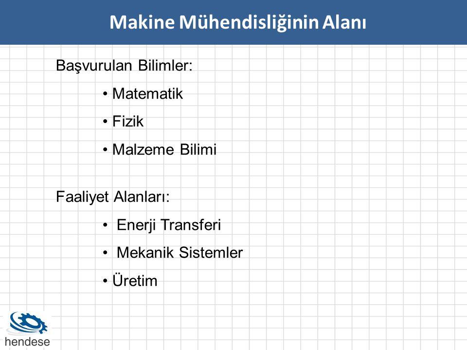 Başvurulan Bilimler: • Matematik • Fizik • Malzeme Bilimi Makine Mühendisliğinin Alanı Faaliyet Alanları: • Enerji Transferi • Mekanik Sistemler • Üre