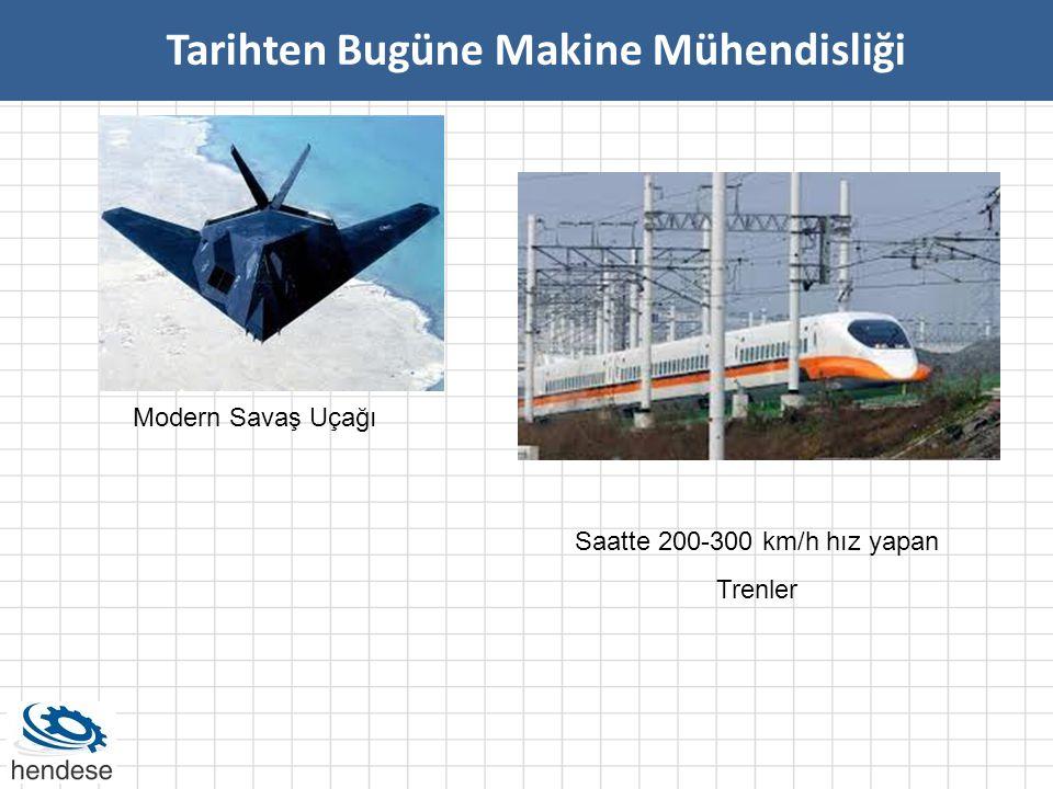 Tarihten Bugüne Makine Mühendisliği Modern Savaş Uçağı Saatte 200-300 km/h hız yapan Trenler