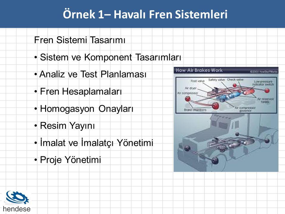 Örnek 1– Havalı Fren Sistemleri Fren Sistemi Tasarımı • Sistem ve Komponent Tasarımları • Analiz ve Test Planlaması • Fren Hesaplamaları • Homogasyon