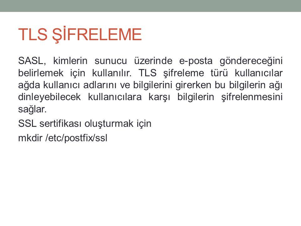 TLS ŞİFRELEME SASL, kimlerin sunucu üzerinde e-posta göndereceğini belirlemek için kullanılır.