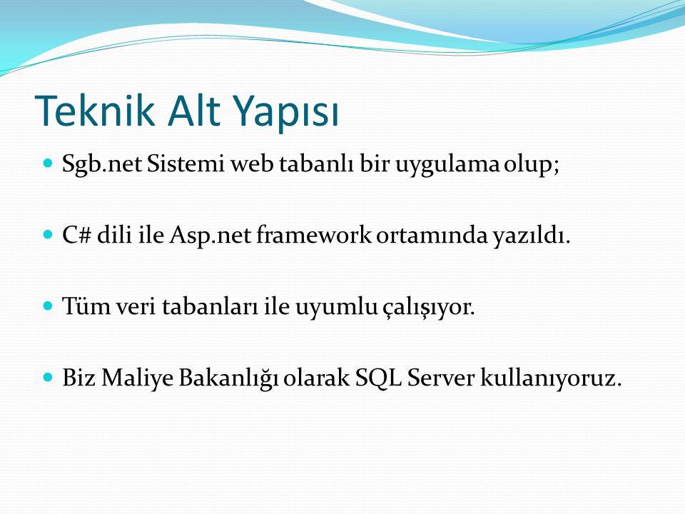 Teknik Alt Yapısı  Sgb.net Sistemi web tabanlı bir uygulama olup;  C# dili ile Asp.net framework ortamında yazıldı.