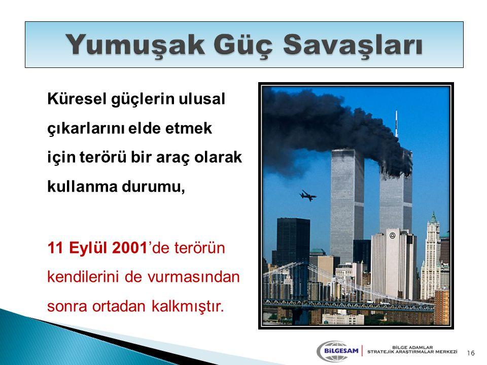 Küresel güçlerin ulusal çıkarlarını elde etmek için terörü bir araç olarak kullanma durumu, 11 Eylül 2001'de terörün kendilerini de vurmasından sonra ortadan kalkmıştır.