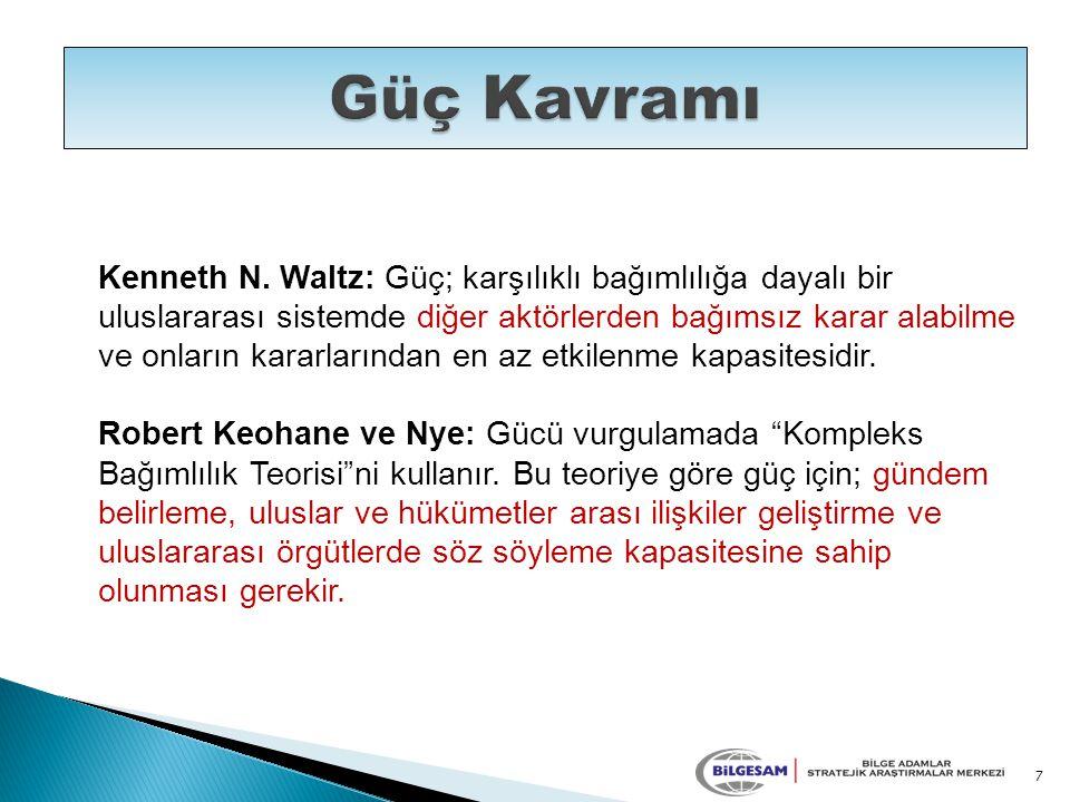Kenneth N. Waltz: Güç; karşılıklı bağımlılığa dayalı bir uluslararası sistemde diğer aktörlerden bağımsız karar alabilme ve onların kararlarından en a