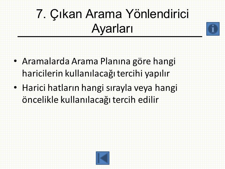 7. Çıkan Arama Yönlendirici Ayarları • Aramalarda Arama Planına göre hangi haricilerin kullanılacağı tercihi yapılır • Harici hatların hangi sırayla v