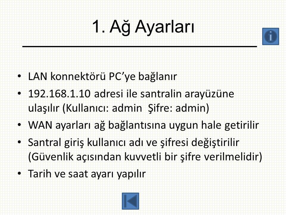 1. Ağ Ayarları • LAN konnektörü PC'ye bağlanır • 192.168.1.10 adresi ile santralin arayüzüne ulaşılır (Kullanıcı: admin Şifre: admin) • WAN ayarları a