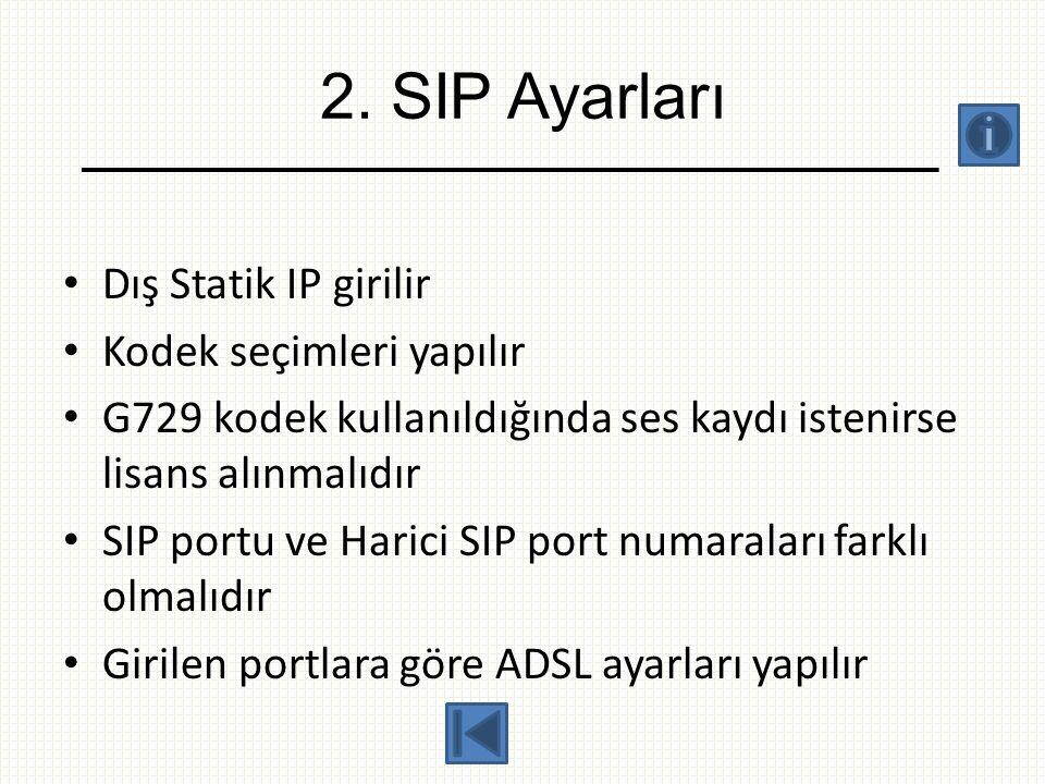 2. SIP Ayarları • Dış Statik IP girilir • Kodek seçimleri yapılır • G729 kodek kullanıldığında ses kaydı istenirse lisans alınmalıdır • SIP portu ve H