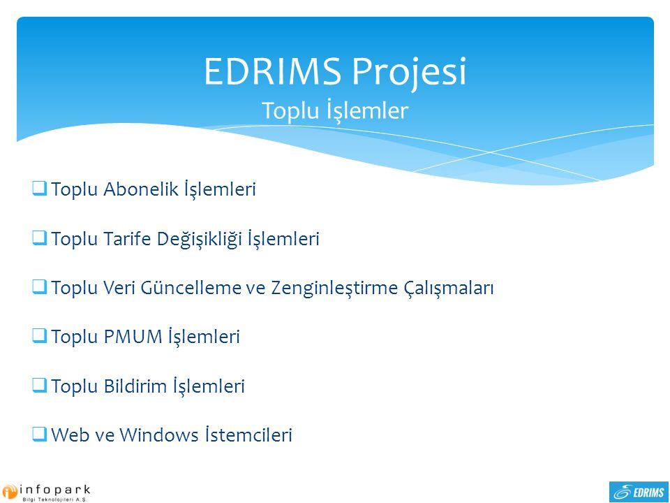 EDRIMS Projesi Toplu İşlemler  Toplu Abonelik İşlemleri  Toplu Tarife Değişikliği İşlemleri  Toplu Veri Güncelleme ve Zenginleştirme Çalışmaları 