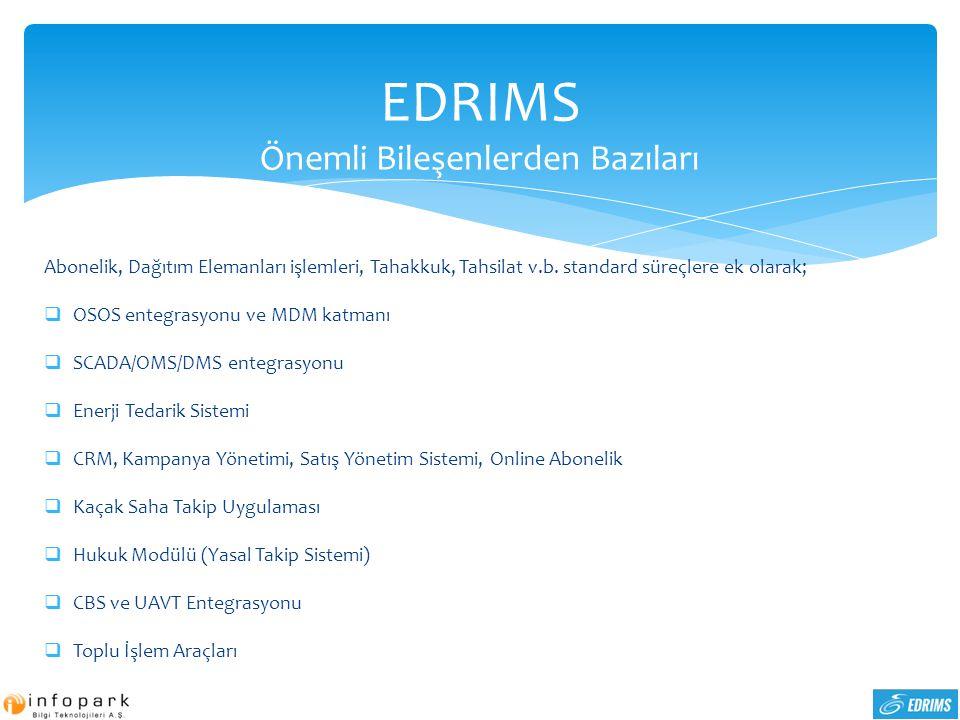 EDRIMS Önemli Bileşenlerden Bazıları Abonelik, Dağıtım Elemanları işlemleri, Tahakkuk, Tahsilat v.b. standard süreçlere ek olarak;  OSOS entegrasyonu