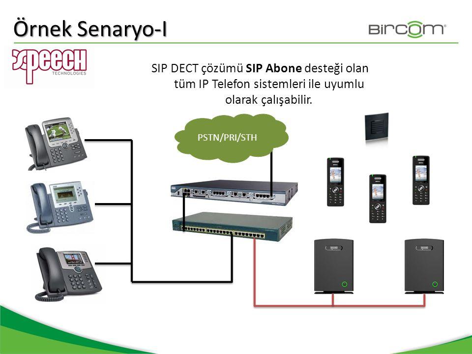 Örnek Senaryo-I SIP DECT çözümü SIP Abone desteği olan tüm IP Telefon sistemleri ile uyumlu olarak çalışabilir. PSTN/PRI/STH
