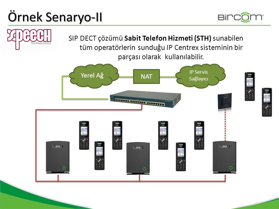Örnek Senaryo-II SIP DECT çözümü Sabit Telefon Hizmeti (STH) sunabilen tüm operatörlerin sunduğu IP Centrex sisteminin bir parçası olarak kullanılabil
