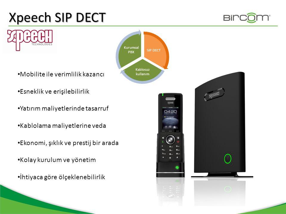 SIP DECT Kablosuz kullanım Kurumsal PBX • Mobilite ile verimlilik kazancı • Esneklik ve erişilebilirlik • Yatırım maliyetlerinde tasarruf • Kablolama