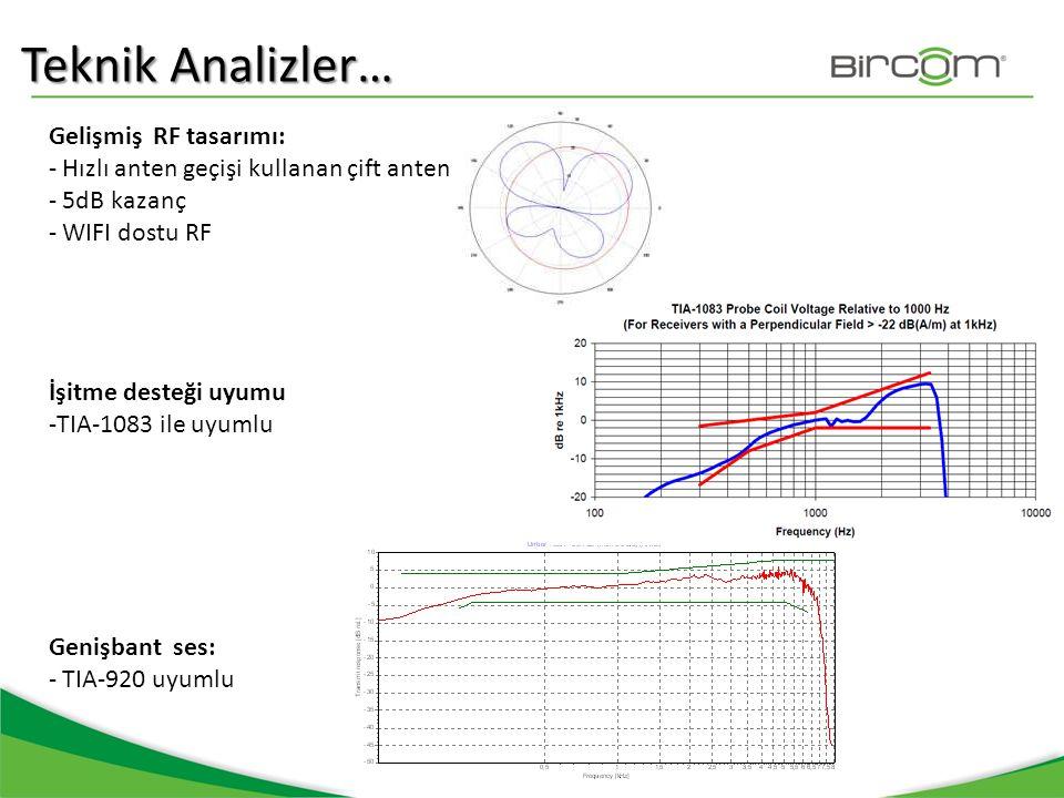 Teknik Analizler… Gelişmiş RF tasarımı: - Hızlı anten geçişi kullanan çift anten - 5dB kazanç - WIFI dostu RF İşitme desteği uyumu -TIA-1083 ile uyuml