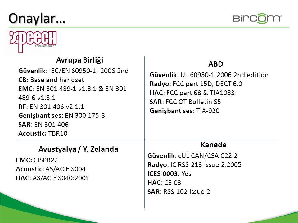 Avrupa Birliği Güvenlik: IEC/EN 60950-1: 2006 2nd CB: Base and handset EMC: EN 301 489-1 v1.8.1 & EN 301 489-6 v1.3.1 RF: EN 301 406 v2.1.1 Genişbant