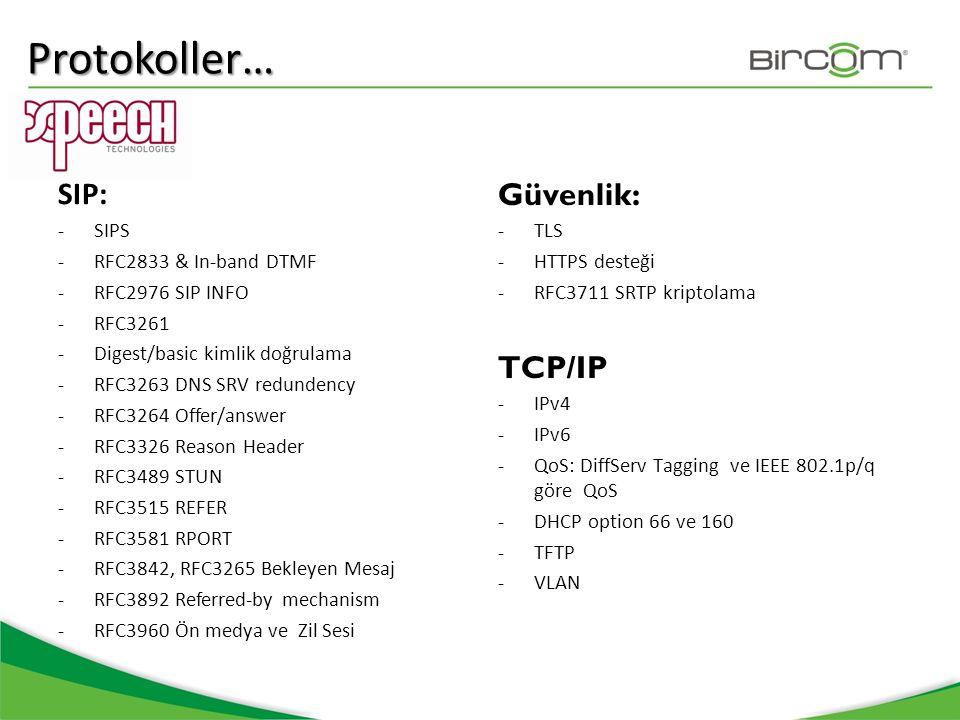 SIP: -SIPS -RFC2833 & In-band DTMF -RFC2976 SIP INFO -RFC3261 -Digest/basic kimlik doğrulama -RFC3263 DNS SRV redundency -RFC3264 Offer/answer -RFC332