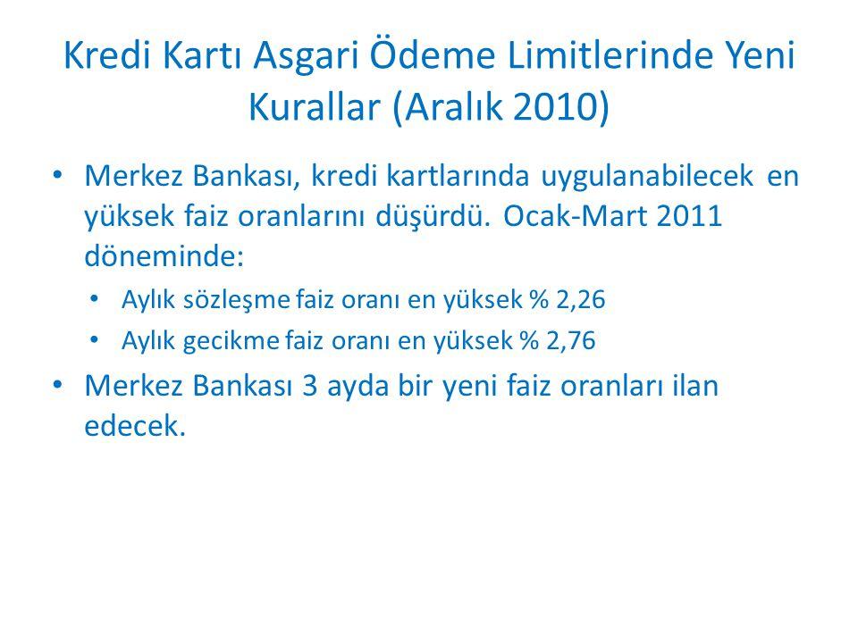 Kredi Kartı Asgari Ödeme Limitlerinde Yeni Kurallar (Aralık 2010) • Merkez Bankası, kredi kartlarında uygulanabilecek en yüksek faiz oranlarını düşürd