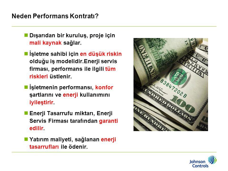 Neden Performans Kontratı?  Dışarıdan bir kuruluş, proje için mali kaynak sağlar.  İşletme sahibi için en düşük riskin olduğu iş modelidir.Enerji se
