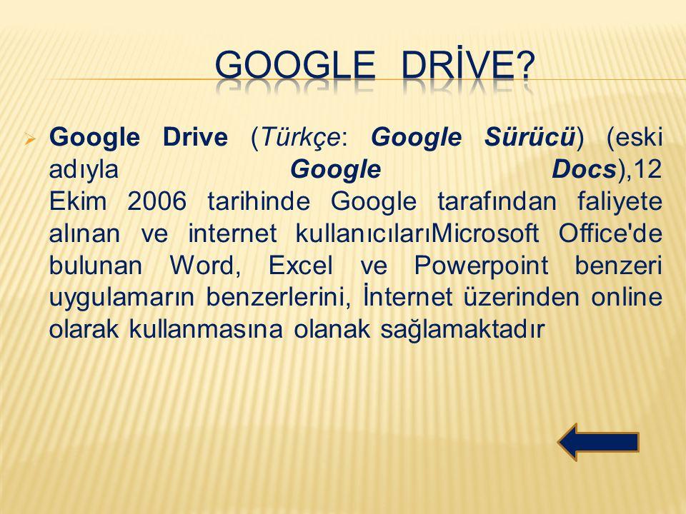  Google Drive (Türkçe: Google Sürücü) (eski adıyla Google Docs),12 Ekim 2006 tarihinde Google tarafından faliyete alınan ve internet kullanıcılarıMic