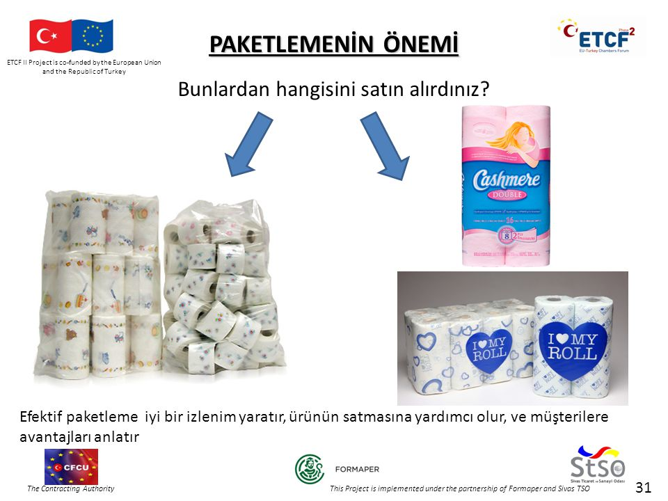 ETCF II Project is co-funded by the European Union and the Republic of Turkey The Contracting Authority This Project is implemented under the partnership of Formaper and Sivas TSO 31 PAKETLEMENİN ÖNEMİ Bunlardan hangisini satın alırdınız.