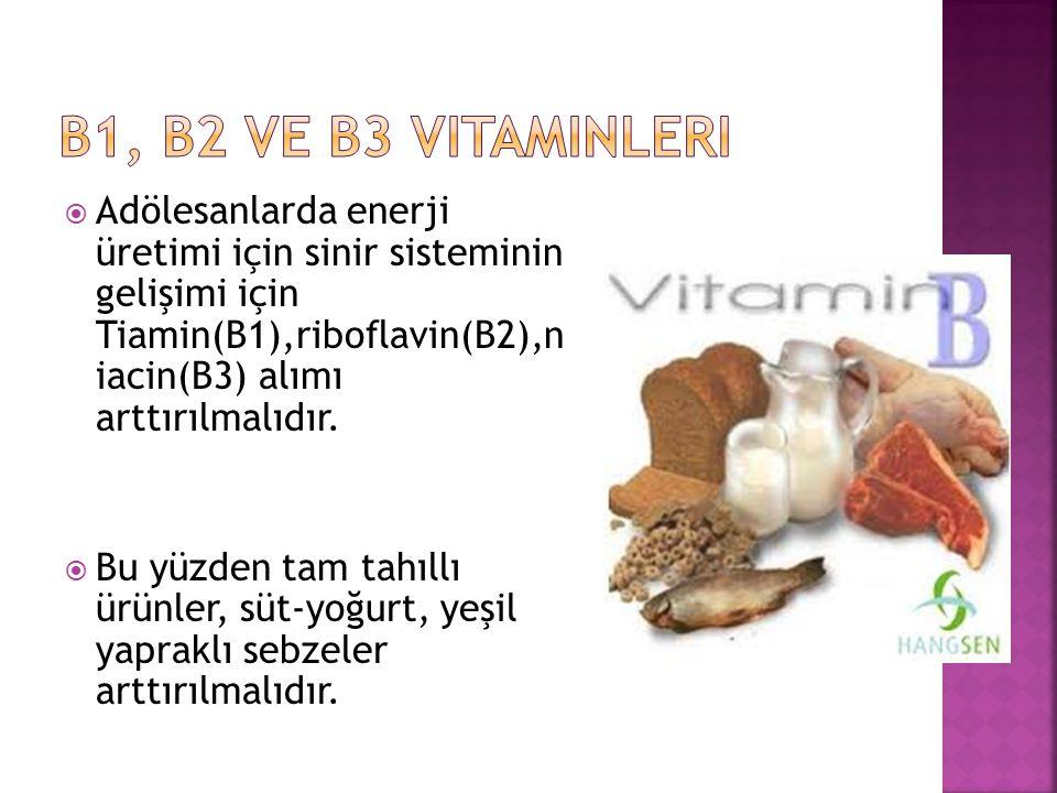  Adölesanlarda enerji üretimi için sinir sisteminin gelişimi için Tiamin(B1),riboflavin(B2),n iacin(B3) alımı arttırılmalıdır.  Bu yüzden tam tahıll