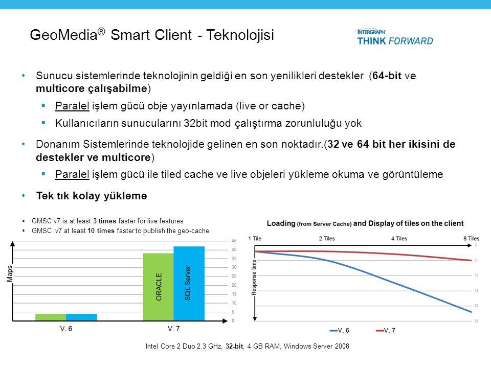 GeoMedia ® Smart Client - Teknolojisi •Sunucu sistemlerinde teknolojinin geldiği en son yenilikleri destekler (64-bit ve multicore çalışabilme)  Para