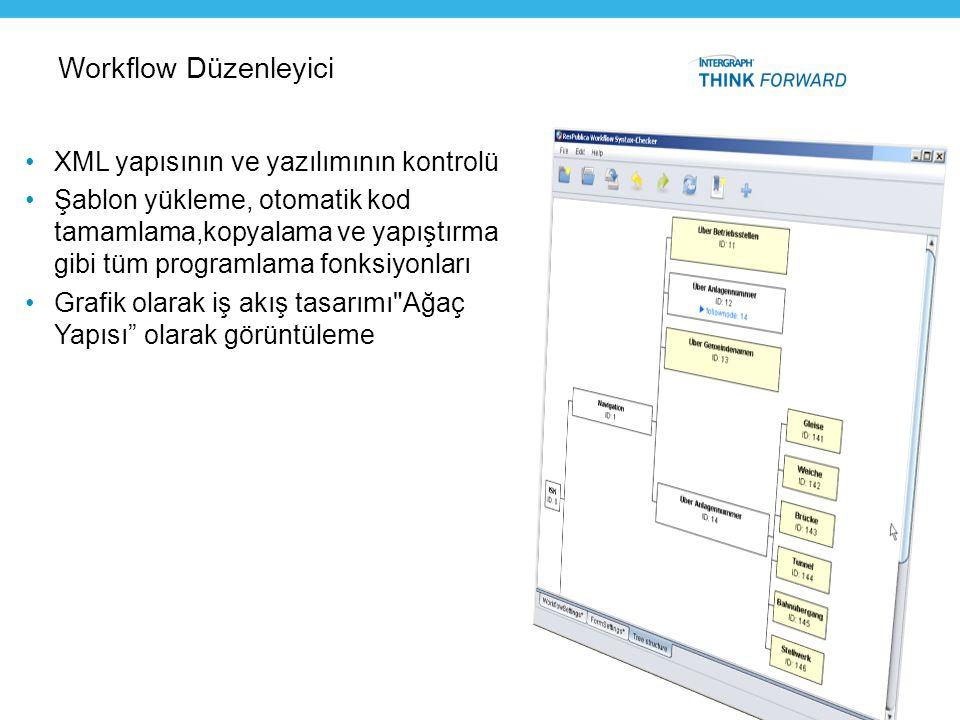 Workflow Düzenleyici •XML yapısının ve yazılımının kontrolü •Şablon yükleme, otomatik kod tamamlama,kopyalama ve yapıştırma gibi tüm programlama fonks