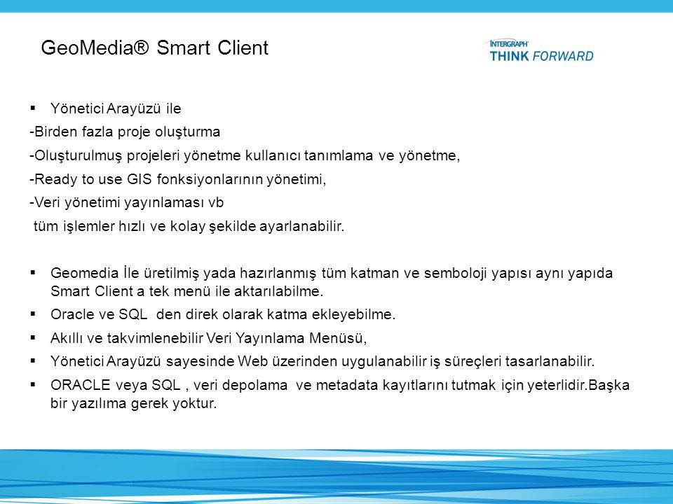 GeoMedia® Smart Client  Yönetici Arayüzü ile -Birden fazla proje oluşturma -Oluşturulmuş projeleri yönetme kullanıcı tanımlama ve yönetme, -Ready to