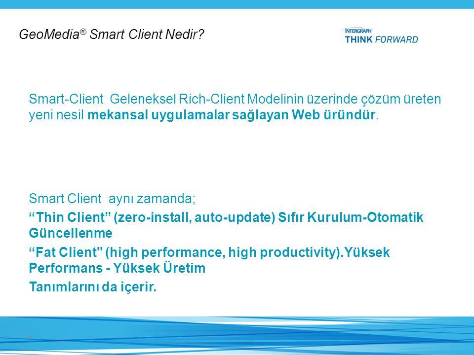 Smart-Client Geleneksel Rich-Client Modelinin üzerinde çözüm üreten yeni nesil mekansal uygulamalar sağlayan Web üründür. 4 GeoMedia ® Smart Client Ne