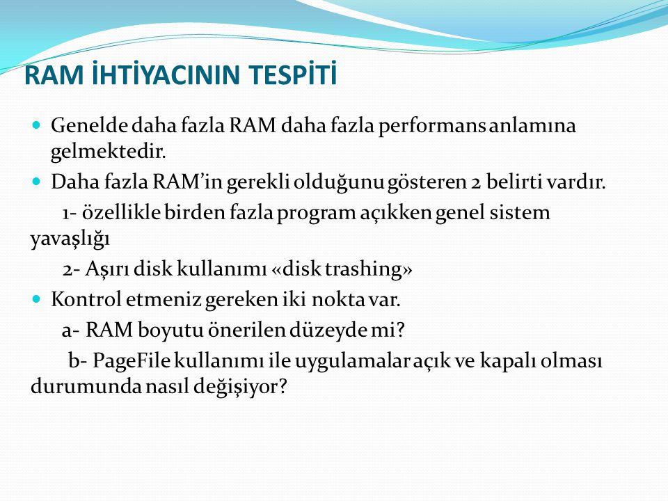 RAM İHTİYACININ TESPİTİ  Genelde daha fazla RAM daha fazla performans anlamına gelmektedir.  Daha fazla RAM'in gerekli olduğunu gösteren 2 belirti v