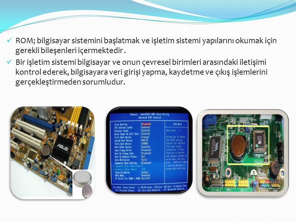  ROM; bilgisayar sistemini başlatmak ve işletim sistemi yapılarını okumak için gerekli bileşenleri içermektedir.  Bir işletim sistemi bilgisayar ve