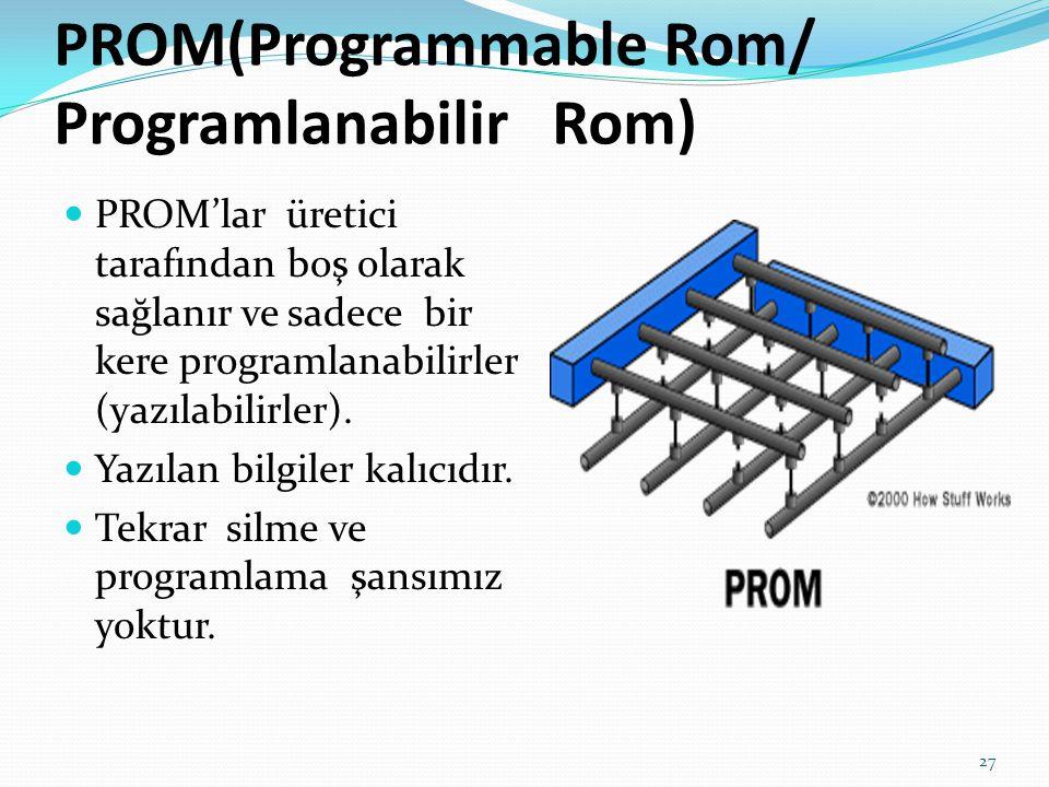  PROM'lar üretici tarafından boş olarak sağlanır ve sadece bir kere programlanabilirler (yazılabilirler).  Yazılan bilgiler kalıcıdır.  Tekrar silm